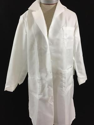 white vintage lab coat doctor nurse size S small polyester 3 pockets