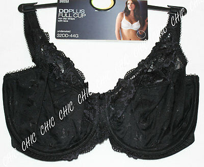 35a5af7b57 M s Women Underwired Floral Lace Full Cup Bra With Non Slip Straps Bnwt  Black