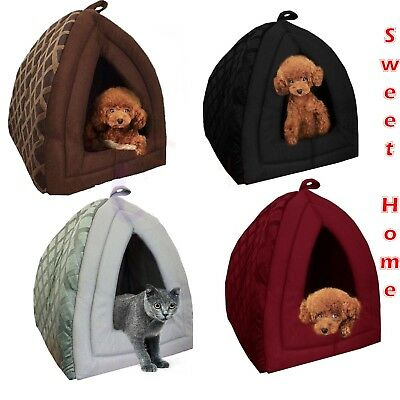 Pet Dog Cat Kitten Warm Cosy Insulated Padded Fleece Winter Warm Cave Bed House