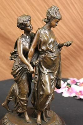 French Vintage Man And Woman Bronze Lovers Original Antique Reproduction Cast
