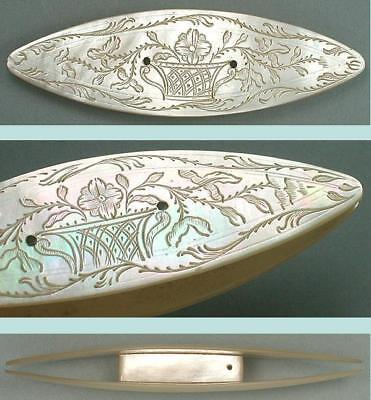 Antique Engraved Mother of Pearl Knotting / Tatting Shuttle * Circa 1800