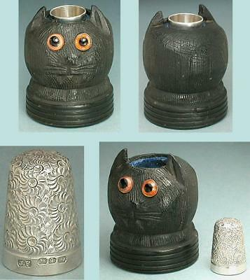 Antique Carved Bog Oak Kitty Cat Thimble Holder * 1890 Silver Sterling Thimble