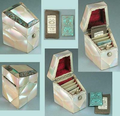Antique Mother of Pearl & Abalone Needle Packet Box * English * Circa 1850