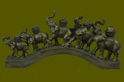 Collector Edition Group of Elephants Walking 100% Solid Bronze Sculpture Statue