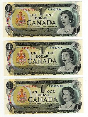 1973 Canada 1 Dollar Notes - 3 in Sequence - FA9927736/37/38, BC-46a