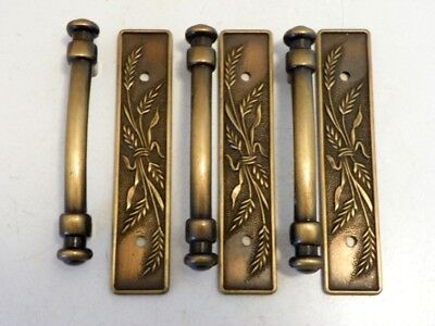 3 Vtg Amerock Handles W/ Backplates Wheat Design 1981 Antique Brass Finish 640-1