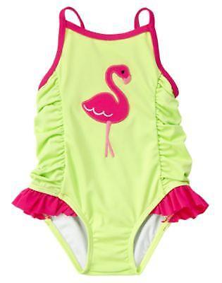 NWT Gymboree Size 18 24 Flamingo Flowers Lime Green One Piece Bathing Swim Suit