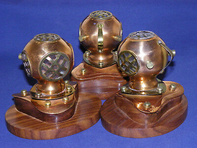 Copper/Brass Divers Helmet On Wood Base (New In Box) Table Top Decor (Each)