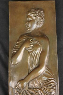 Huge Sale Neoclassic Bronze Bas Relief Plaque Roman Greek Woman Sculpture Deal