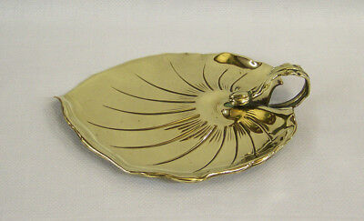 FINE ANTIQUE ARTS & CRAFTS JUGENDSTIL AESTHETIC MOVEMENT BRASS LILY PAD TRAY vgc