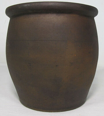 19th c Primitive American Folk Art Antique Redware Apple Butter Jar Crock #1 yqz