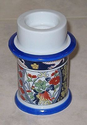 Exotic Japanese Blue Imari Candle Holder for 3 Sizes of Candles-Mint Condition