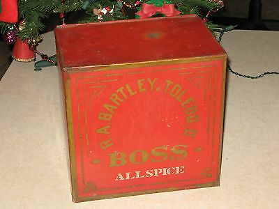 "Rare R.A. Bartley Boss All Spice Tin   ""Toledo Ohio """