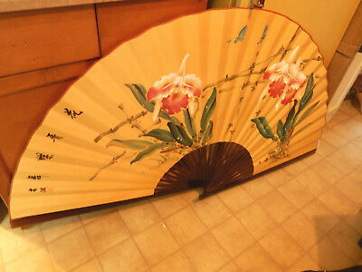 "LARGE 34"" X 64"" Folding Fan Bamboo w/ FLOWERS Chinese Large Wall Hanging"