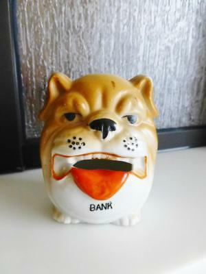 Vintage Small BULL DOG Bisque Pottery Piggy Bank c1930s Made in Japan