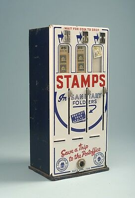 """16"""" antique porcelain coin operated stamp machine"""