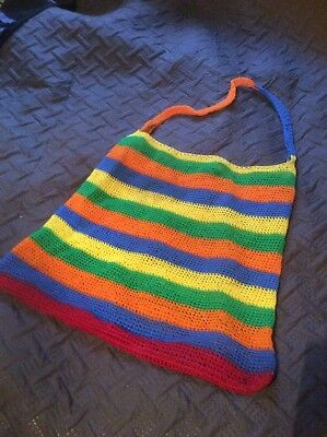 Vintage 1970s Woven Beach Bag Large Size Acrylic Cord