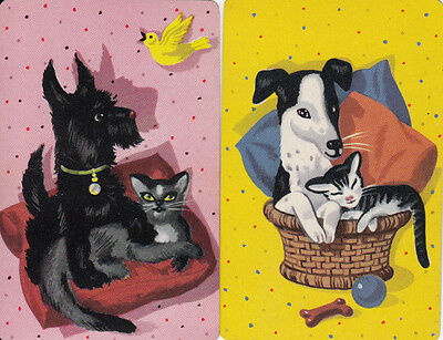 Vintage Swap/Playing Cards - 2 Single - CATS AND DOGS AS FRIENDS
