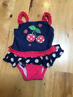 New Girls Blue Cherry Ruffle Dots One Piece Swim Bathing Suit C Place 6-9 Months