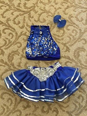 Girls Dance Competition Costume - Blue Sequin