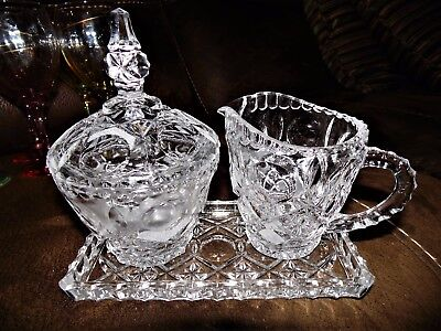 Lead Crystal Sugar & Creamer with Matching Tray by Leonard Crystal of Italy