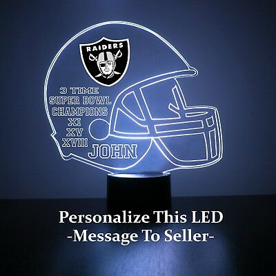 Oakland Raiders NFL Football Light Up Lamp LED Light and Remote Personalize Free