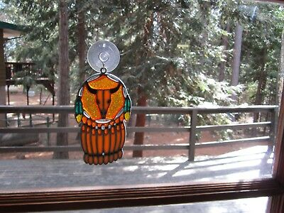 Beautiful Skull Dreamcatcher  Stained Glass Style Sun Catcher With Suction Cup