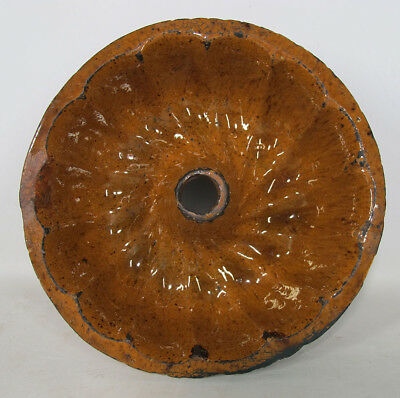 Antique 19th c Folk Art Redware Manganese Glaze Turks Head Bundt Food Mold 4 yqz