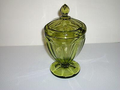 Olive/Green  Covered Glass Compote