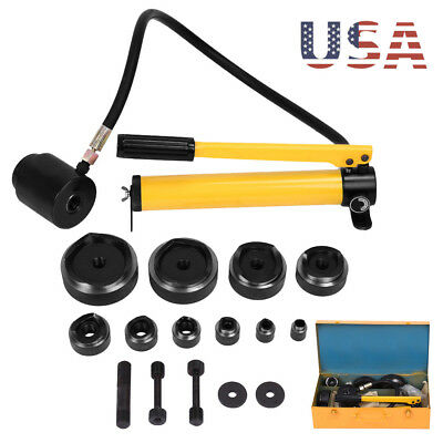 10 Dies 15 Ton Hydraulic Knockout Punch Driver Kit Conduit Hole Tool Hydra US