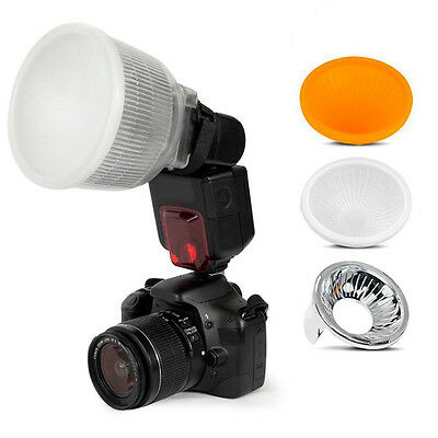 Universal Cloud Lambency Flash Diffuser Reflector with White Dome Cover Kit New.