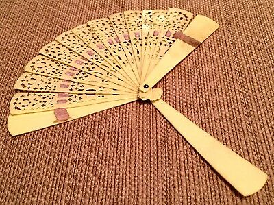 Celluloid Folding Hand Fan Antique True Vintage 1920s Carved Pierced Art Deco