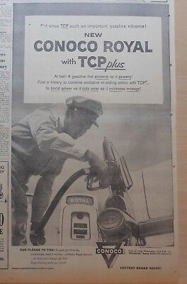 1957 newspaper ad for Conoco - Conoco Royal with TCP+, attendant pumps gas