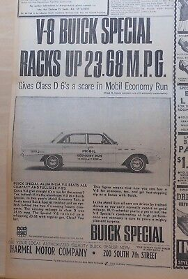 1962 newspaper  ad for Buick - Special with Aluminum V-8 wins Mobil Economy Run