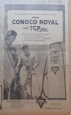1957 newspaper ad for Conoco - Conoco Royal with TCP+, attendant & pump ready