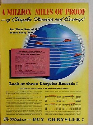 1940 magazine ad for Chrysler - Million Miles of Proof, of Stamina & Economy