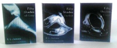Dollhouse Miniature Set of 50 SHADES OF GREY in 1:12 Scale -- All 3 Books