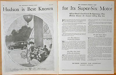 1920 two page magazine ad for Hudson - Hudson Super Six Limousine, art by RFH