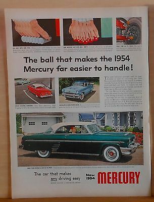 Vintage 1954 magazine ad for Mercury - color photos, Mercury Ball Joints easier
