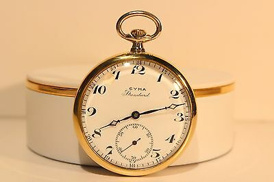 "Antique Art Deco Nice Rare Model Swiss Open Face Pocket Watch ""Cyma"" Standard"