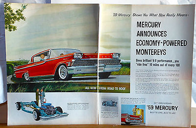Vintage two page 1958 magazine ad for Mercury - Economy Powered 1958 Monterey