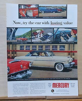 1953 magazine ad for Mercury - Lasting Value, proven V8, economy, features