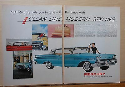 1958 two page magazine ad for Mercury - Clean Line Modern Styling, Colorful ad