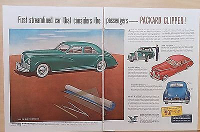 1941 two page magazine ad for Packard - Straight Eight Clipper, Streamlined
