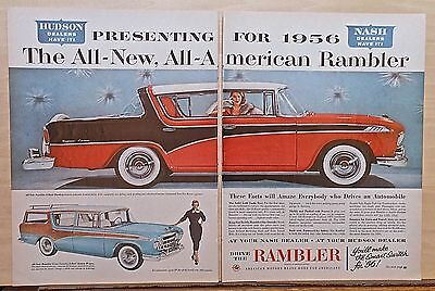 1955 two page magazine ad for Rambler - 1956 hardtop, Cross Country Wagon