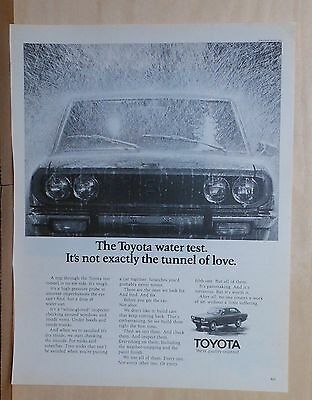 1971 magazine ad for Toyota - Toyota Water Test not the Tunnel of Love