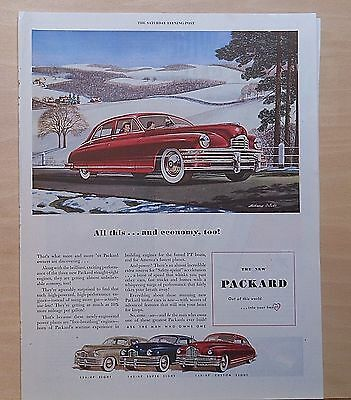 1948 magazine ad for Packard  - red Packard in winter - art by M. Brindle