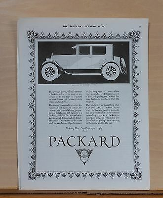 1923 magazine ad for Packard - Single Six Five Passenger Coupe illustration