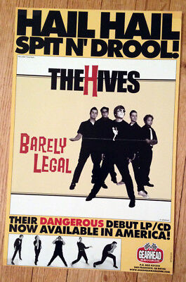 THE HIVES barely legal RARE promotional poster 11x17 gearhead records rpm030