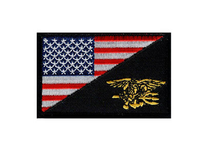 USA Flag NAVY SEAL Trident Morale Hook Fastener Patch (3.0 X 2.0 - NVS1)